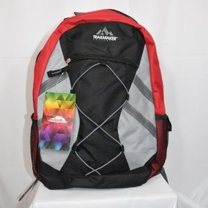 Trailmaker Black, Red, and Gray Backpack Bag NWT